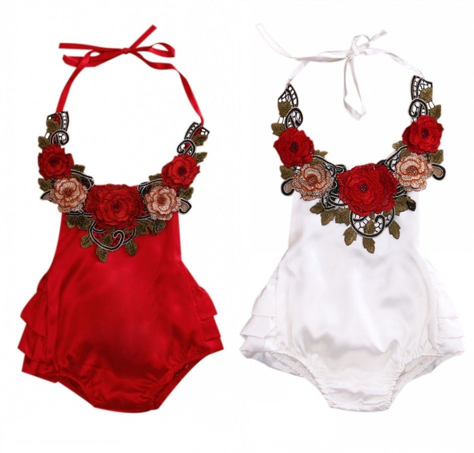 Newborn Baby Girls Clothes Red Rose Backless Bubble Bodysuit Sunsuit Summber 2017 By Pudcoco