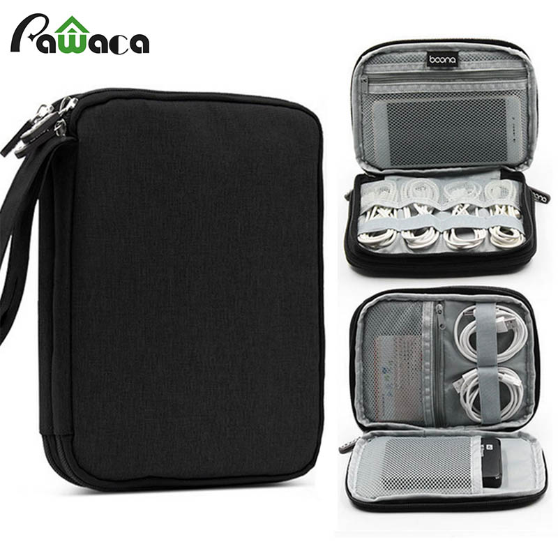Double layer Travel Mini cable bag Gadget Organizer Portable USB digital Electronics Accessories Storage Carrying Case 19*14*3cm gadget