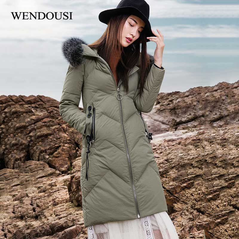 WENDOUSI Long Winter Jacket Women Duck Down Jacket Female Hooded Thick Warm Coats Brand Parka Womens Large Size Doudoune DY5888