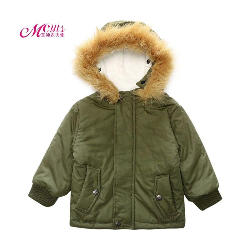 Для маленьких мальчиков овечьей шерсти меховой воротник куртка с капюшоном Пальто для будущих мам теплая зимняя верхняя одежда детская оде...