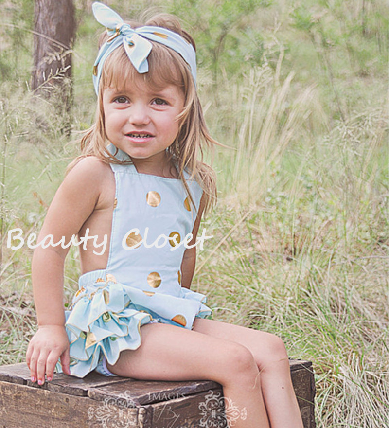 5083c7b0fc8 Baby Girl Mint Blue With Gold Polka Dot Bubble Romper With Matching Headband  Birhtday Outfit Photo Prop