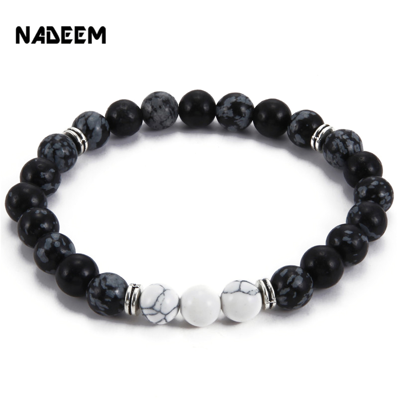 Drop Shippig New Product Wholesale Natural Snowflake Stone Bead Bracelet Men Jewelry,Stretch Yoga Bracelet pulseras mujer