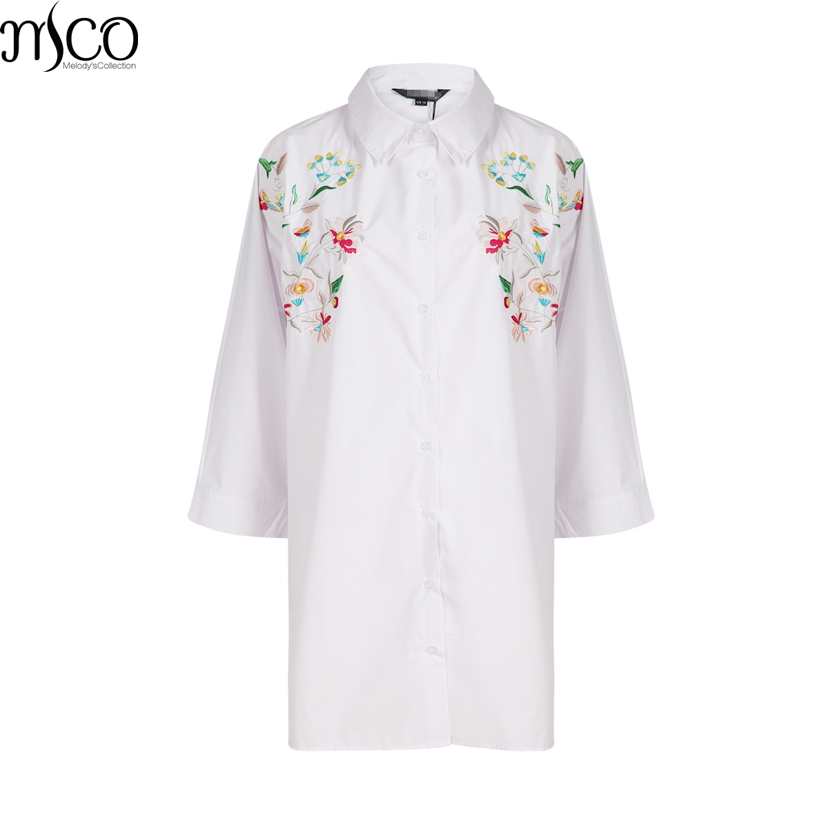 MCO Fashion Floral Emboridered Top Oversized Basic Plus Size Women Clothing Classic Big Kimono Shirt 5xl 6xl 7xl OL Long Blouse