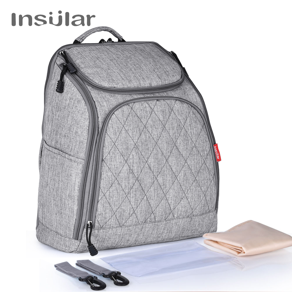 INSULAR Large Capacity Laptop Diaper Bag Backpack Baby Nappy Bags Stroller Pram Bags Cart Changing Maternity Shoulder Bolso idore baby diapers l 60pcs disposable nappies ultra thin large absorb capacity breathable 6dtex non woven fabric infant nappy