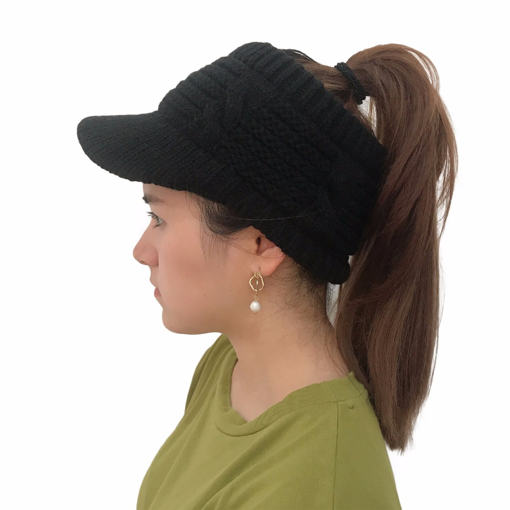 New Ponytail Beanie Women Winter Hats Visor Empty Top Knitted Ski Cap Skullies Beanies Warm Caps Female Stylish Hat Ladies