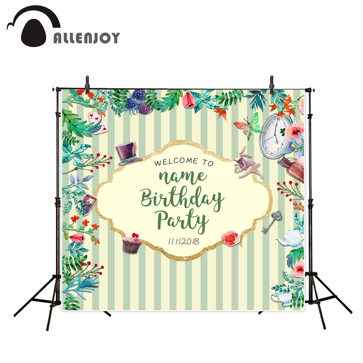 Allenjoy photo background Wonderland Birthday Party Backdrop Flowers Bunny Hat clock stripes photo Backgrounds for photo studio rosemary wells bunny party