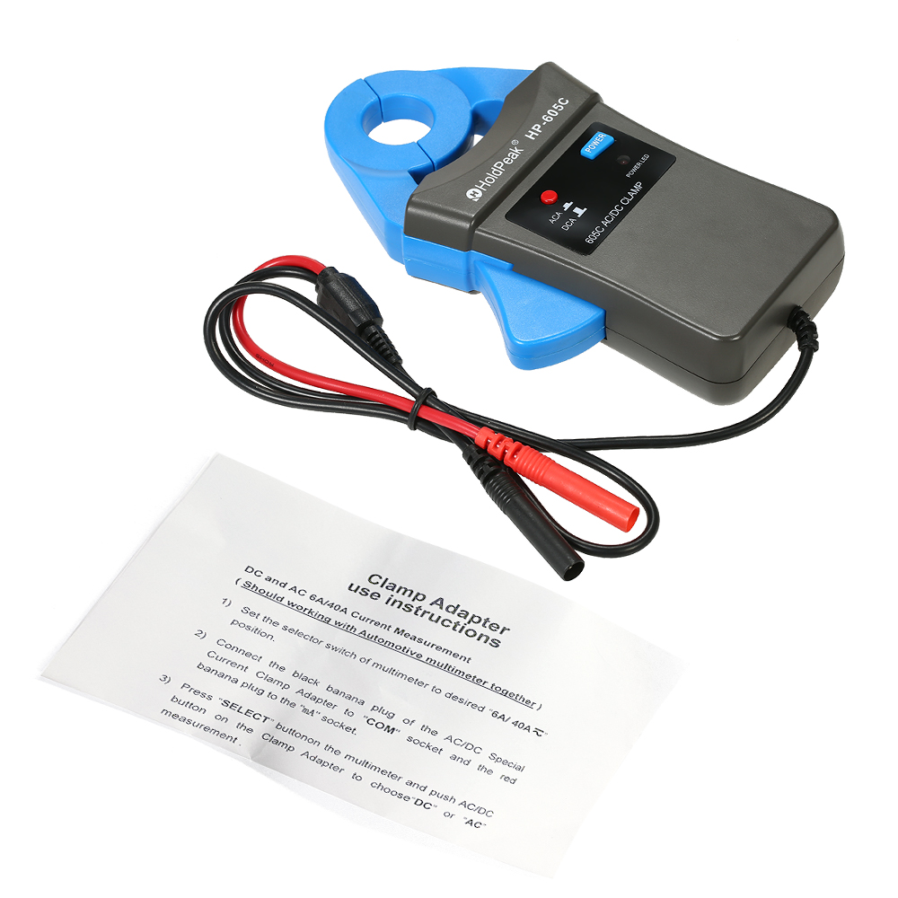 HoldPeak 6A 40A DC AC Current Clamp Adapter Clamp On Adapter Meter with Test Probes for