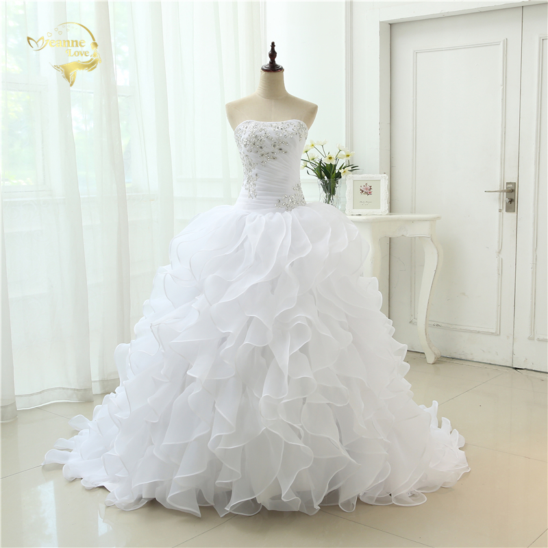 Fashion A Line Vestidos De Noiva Applique With Beading Robe De Mariage Bridal Gown Ruffles Wedding