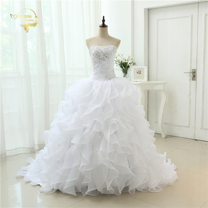 Moda A Linie Vestidos De Noiva Aplica cu Beading Robe De Mariage Rochii de mireasa Roffles Rochii de mireasa 2019 Casamento YN3300