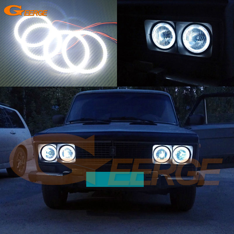 For Lada Vaz 2106 1976 1997 1998 1999 2000 2001 Excellent Ultra bright illumination smd led Angel Eyes Halo Ring kit ваз 2106