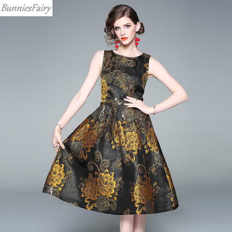 BunniesFairy 2019 Spring Vintage Audrey Hepburn Retro Golden Shiny Jacquard Embossed Sleeveless Floral Pleated Tank Dress Party-in Dresses from Women's Clothing    1