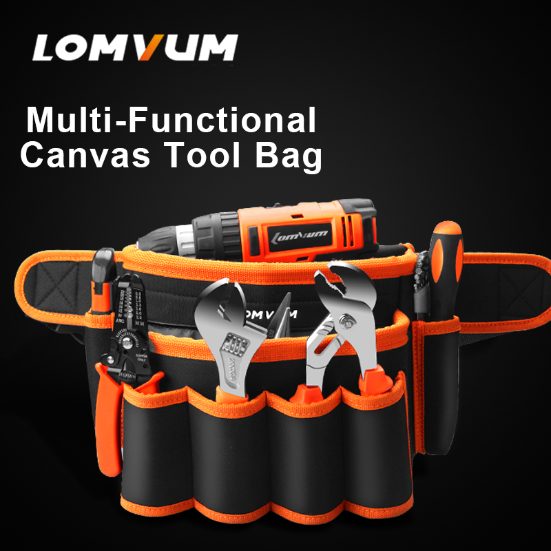 LOMVUM Multifunction Durable Hardware Mechanics Canvas Tool Bag Electrician Canvas Tool Bag Belt Utility Kit Pocket Pouch canvas kit multifunction waist bag electrician repair water resistant pockets tool bag