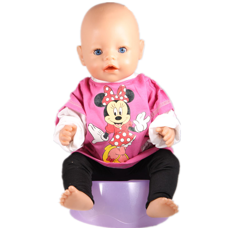 Directly Facotry Price 43cm Baby Born Zapf Doll Print Minnie clothes Accessories Children Best Gift ZD64