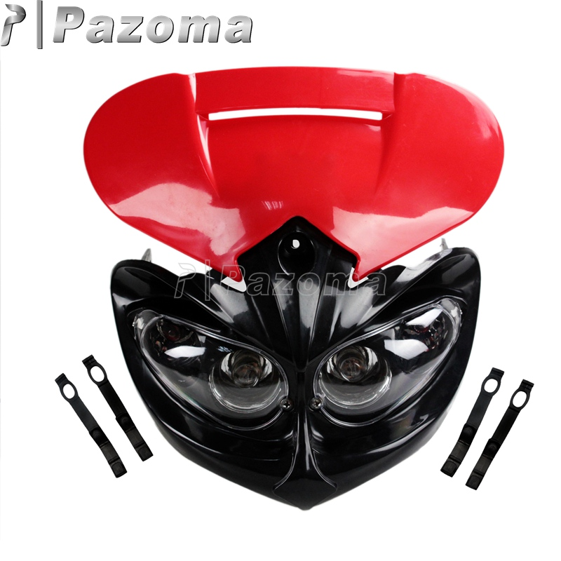 Pazoma Red <font><b>Universal</b></font> Streetfighter <font><b>Dirt</b></font> <font><b>Bike</b></font> Motocross <font><b>Headlight</b></font> Head Lamp Fairing Dual Sport For BMW F30 E90 E92 M3 M4 image