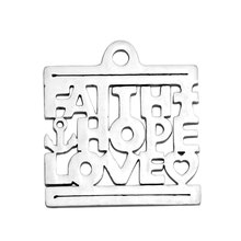Full Polished Floating Stainless Steel Faith Hope Love Square Charm Pendants for Bracelet Necklace DIY Jewelry Making