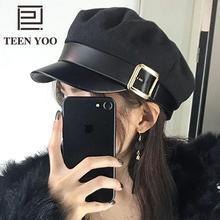 Sailor Hat Flat-Top-Beret Captain-Cap Military-Hat Newsboy-Cap Black Fashion Women Spring