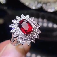 Ювелирные украшения, 18 К, белое золото, настоящий натуральный голубь, кровавый красный рубин, бриллианты, Свадебные обручальные женские кол