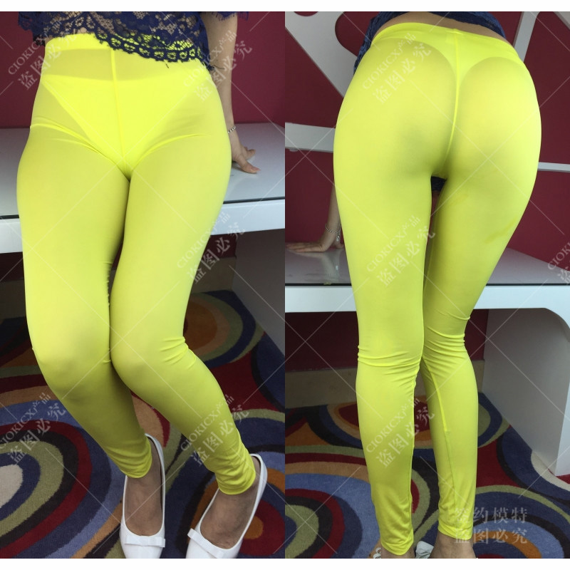 Candy Color Plus Size High Waist Leggings Wetlook Sexy Thin Transparent Legging Ploe Dance Clubwear Erotic Trousers Pencil Pants
