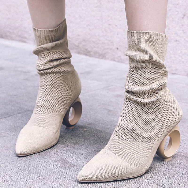 Round-Ring-Heel-Knit-Women-Sock-Boots-Pointed-Toe-Mid-Calf-Women-Boots-Brand-Design-High