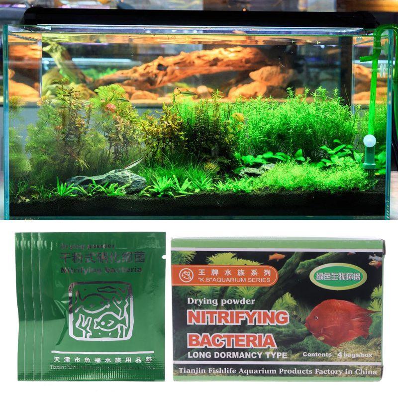 4Bags Aquarium Nitrifying Bacteria Powder For Fresh Marine Water Fish Tank UHJSD