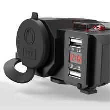 Универсальный мотоцикл Dual USB 2.1A и 2.1A Сетевое зарядное устройство светодио дный LED Напряжение Вольтметр переключатель водостойкий для gps зарядки телефона