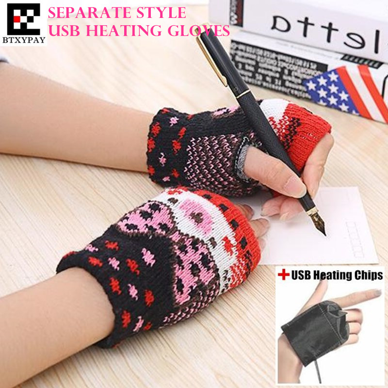 200p! Winter Warm Boy&Girl Students Homework Separate Style USB Heating Gloves,Women Hand Back Heated Knitted Fingerless Gloves