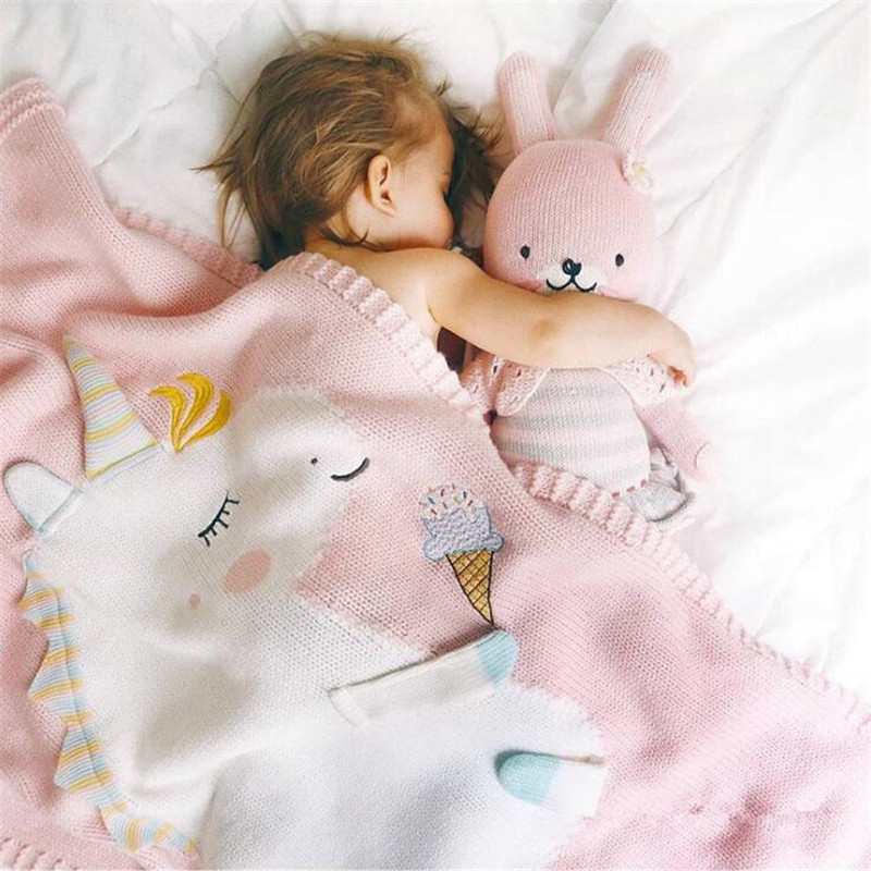 60*120cm Baby Blankets Infant Kids Unicorn animal Soft Warm knit Swaddle Kids Bath Towel Lovely Newborn Baby Bedding Props newborn baby blanket bed crib toddler unicorn pattern knit blankets infant soft baby fleece pram crib blanket size 60 120cm