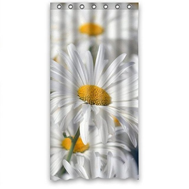 Fantastic Bath White Pure Daisy Flower Sea Fabric Bathroom Waterproof Shower Curtain 36X72 InchesRing Hooks Included