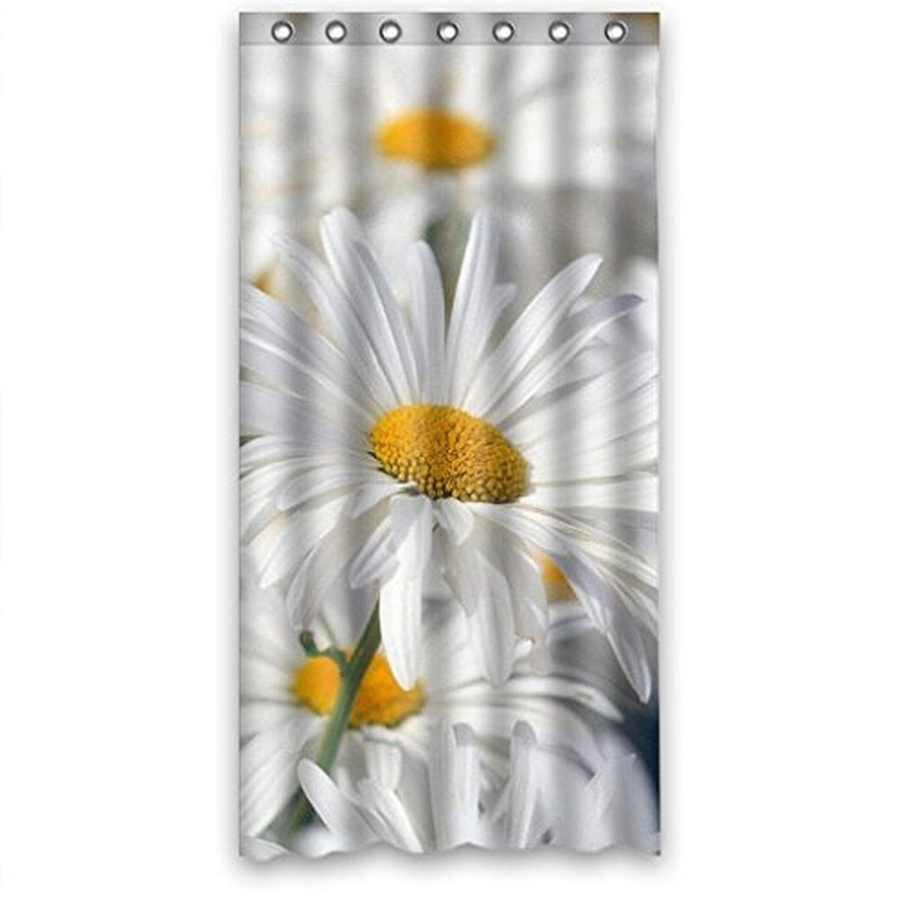 Fantastic Bath White Pure Daisy Flower Sea Fabric Bathroom Waterproof Fabric Shower Curtain 36X72 Inches,Ring/Hooks Included