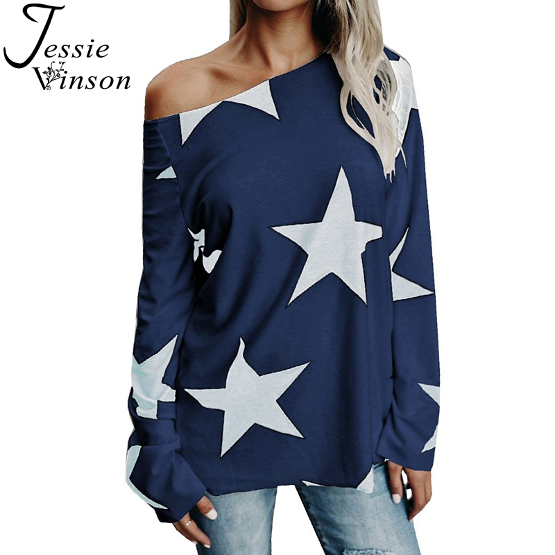 Jessie Vinson Plus Size Slash Neck One Shoulder Long Sleeve Star Print Female T-shirt Autumn Winter Off Shoulder Women Tops