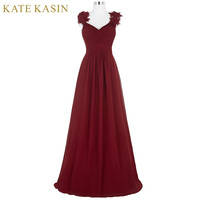 Flower Cap Sleeve Long Cheap Prom Dresses Fast Shipping Graduation Evening Party Dresses 2018 Chiffon Burgundy