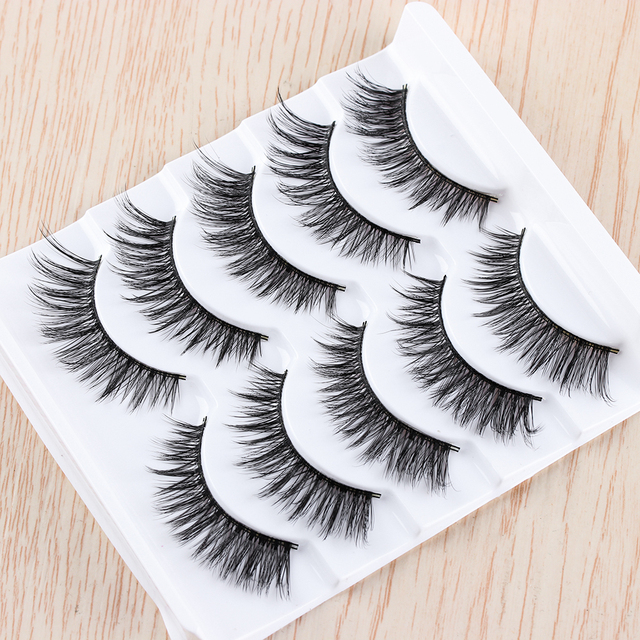 5 Pairs Handmade 3D Faux Mink Hair Lashes Natural Thick Cross Eyelash Soft  Wispy Volume False Eyelashes Extension Makeup Tools False Eyelashes