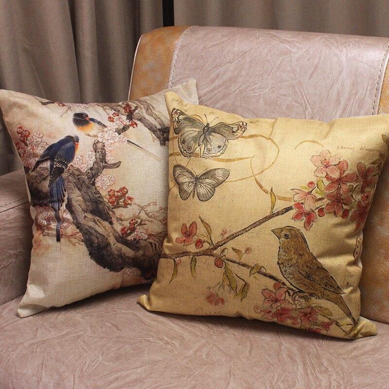 Decorative Pillow Distributors : Aliexpress.com : Buy Retro Birds Flowers Painting Printed Cotton Linen Cushion Covers for Sofa ...