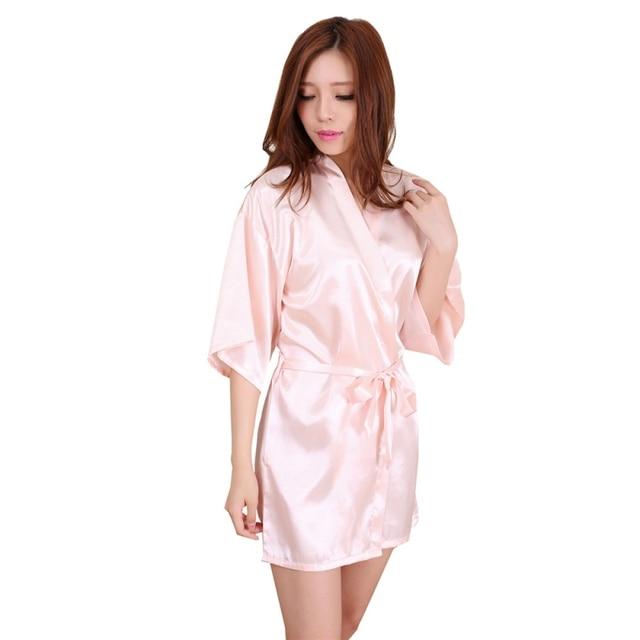 4e4d17ba8f Women s Nightgown Satin Robes Belt Pajamas Sleepwear Nightdress Kimono Robe  Short Bathrobe