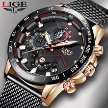 2019 New LIGE Black Casual Mesh Belt Fashion Quartz Gold Watch Mens Watches Top Brand Luxury Waterproof Clock Relogio Masculino