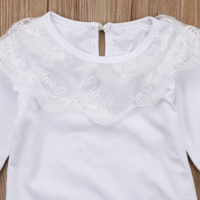 2018 Brand New Newborn Toddler Infant Kid Baby Girl Lace Jumpsuit Romper Princess Party Skirt 2Pc Outfit Set Long Sleeve Clothes