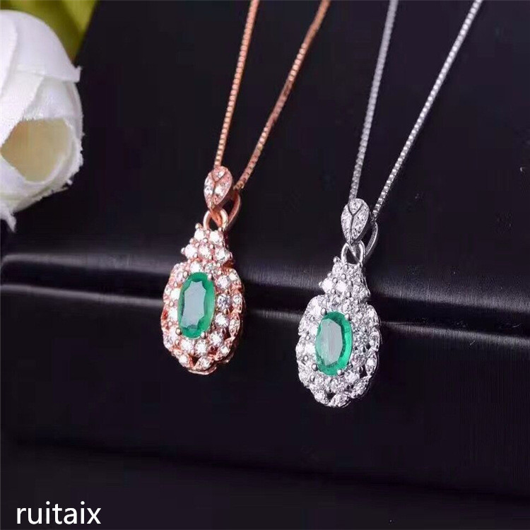 KJJEAXCMY boutique jewels S925 Sterling silver natural emeralds necklace inlaid jewelry female style gem pendant rhinestone inlaid geometric faux gem pendant jewelry set
