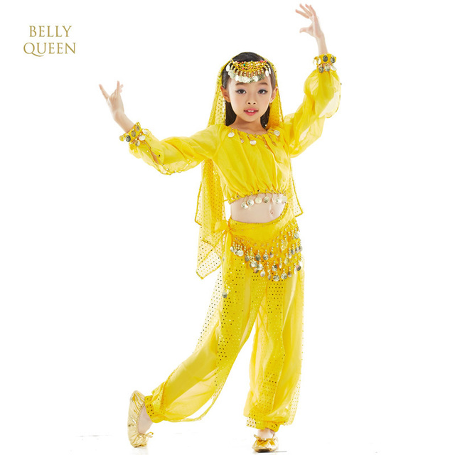 50e203a724e3 Kids Belly Dance Costume Girls Indian Bellydance Belly Dancing Costumes  Sets Child Coin Bollywood Dance Wear Sets 6PCS/SET