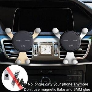 Image 4 - Suporte do telefone do carro de gravidade,, saída de ar para smartfone, suporte de telefone móvel para o sorriso do carro, urso suporte gps,