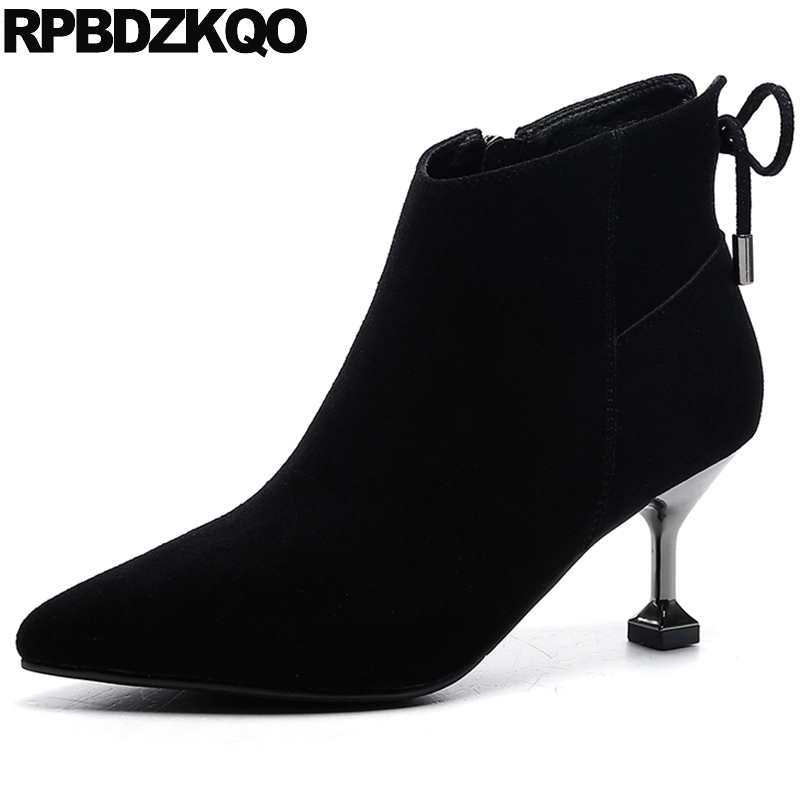 Fur Stiletto Booties Winter Pointed Toe Women British Thin High Heel Shoes Suede Side Zip Boots Ankle Short 2017 Chinese Fashion women faux suede side zipper sexy thin high heel thigh boots fashion pointed toe winter shoes black g