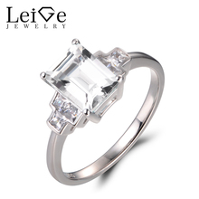 Leige Jewelry Natural White Topaz Rings Proposal Rings November Birthstone Solid 925 Sterling Silver Fine Jewelry Jewelry Gifts