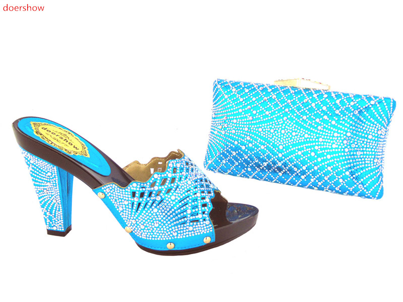Fashion Matching Italian Shoes and Bag Set sky Blue Color African Women Matching Italian Shoe and Bag Set doershow AS1-27 doershow wholesale african party shoes and bag lovely italian matching shoes and bag lowest price gold color size 38 42 wow38