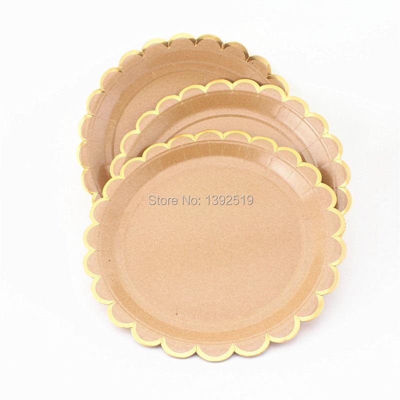 IMG_5848 IMG_5847 IMG_5849 IMG_5846 IMG_5845 IMG_5844  sc 1 st  AliExpress.com & 160Pcs Kraft Paper Plates Scollop Edge Shiny Gold Foil Border ...