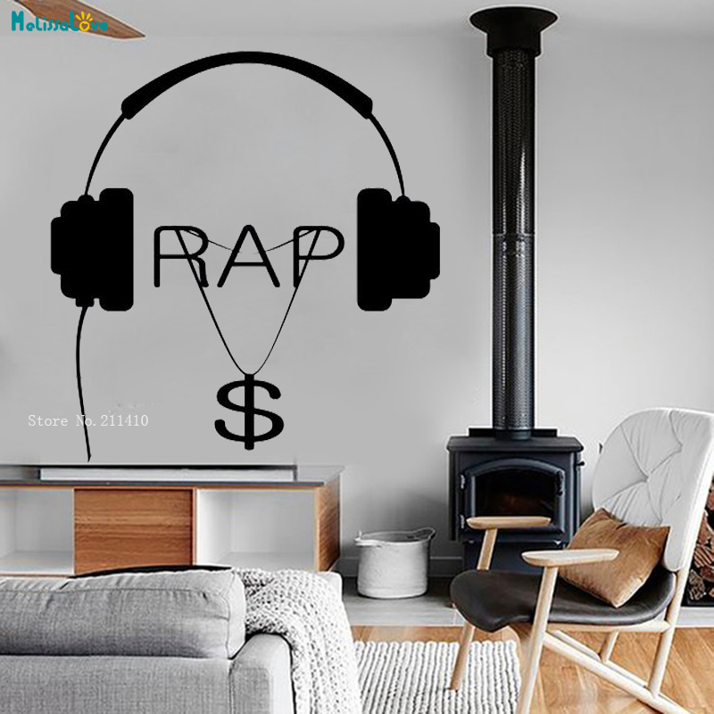 Simple Wall Vinyl Music Respect for Real Hip Hop Rap Songs Money Guaranteed Quality Home Decor Decals Mural Art YT1673 image