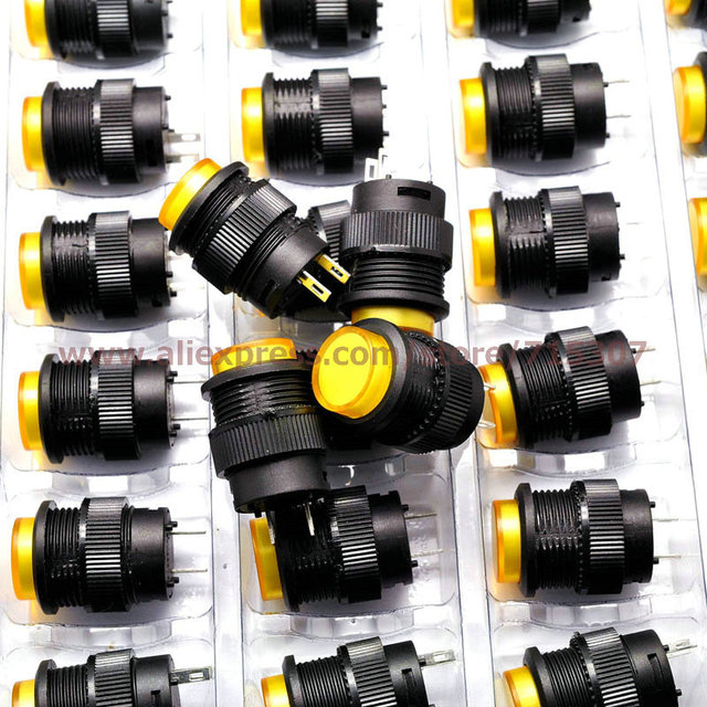 PHISCALE 20pcs yellow push button switch R16-503B 16mm round shape non locking 250v 3A 2pins