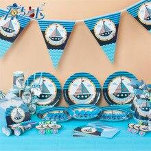90PCS/Set Party Disposable Tableware Sets Cups Napkins 7''&9''Plates Tablecloths Knives Fork Spoon Invitation card Cartoon Kids