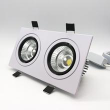 hot deal buy  popular square cree 2* 10w dimmable cob led downlights cri>88 double fixture recessed ceiling down lights lamp
