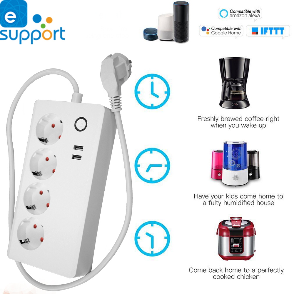 Timethinker Ewelink Wifi Power Strip EU Plug Socket Voice Control 2 USB Ports work with Alexa