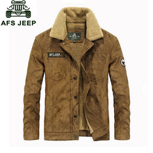 M~3XL New Fleece Warm Retro Jackets Mens Jeans Coats Winter Jackets Brand CLOTHES Thicken Military Coat Men Outwear Male Khaki