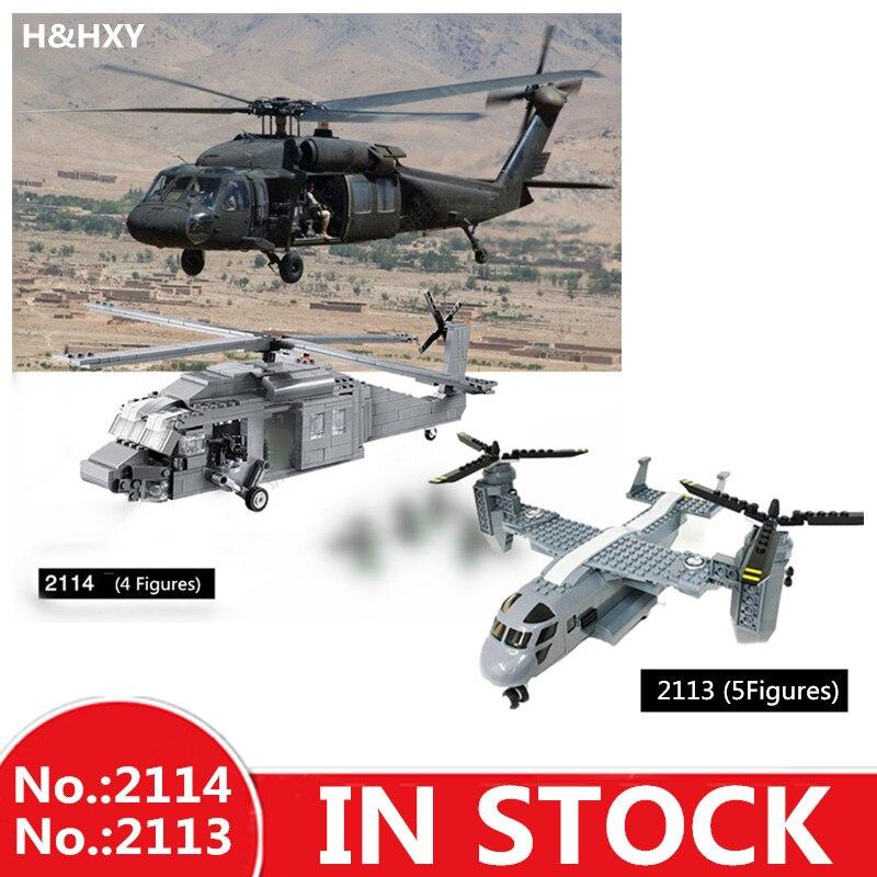 H & HXY 2114, 562 unids/2113/318 unids elementos básicos militar UH-60 Halcón Negro avión Avión Helicóptero ladrillos bloques Decool Juguetes